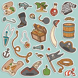Vector set of pirate items, color stickers Stock Photos