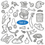 Vector set of pirate items, colorless cartoon collection Stock Photo