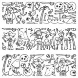 Vector set of pirates children`s drawings icons in doodle style. Painted, black monochrome, pictures on a piece of paper royalty free illustration