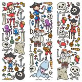 Vector set of pirates children`s drawings icons in doodle style. Painted, colorful, pictures on a piece of paper on royalty free illustration
