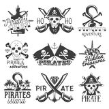 Vector set of pirates logos, emblems, badges, labels or banners. Isolated vintage style illustrations. Monochrome flags Royalty Free Stock Photography