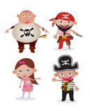 Vector Set pirates. Vector Set of 4 unique cute cartoon pirate illustrations Royalty Free Stock Images