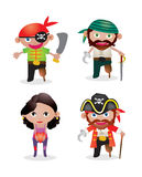 Vector Set pirates. Vector Set of 4 unique cute cartoon pirate illustrations Royalty Free Stock Image