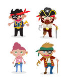Vector Set pirates. Vector Set of 4 unique cute cartoon pirate illustrations Stock Photos