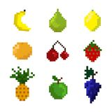 Vector set of pixel fruits. Pixel fruits on the white background. Collection of fruits for game or other vector illustration