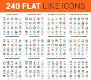 Flat Line Web Icons. Vector set of 240 64X64 pixel perfect flat line web icons. Fully editable and easy to use Royalty Free Stock Photography