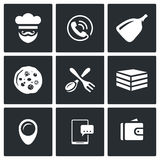 Vector Set of Pizza Delivery Icons. Cook, Order Manager, Shoulder baker, Pizza, Cutlery, Box Food, Address, Booking Stock Photos