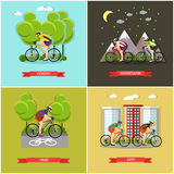 Vector set of places where you can cycling. Vector set of places where you can ride bike. City, forest, park and mountains cycling. Active lifestyle. Flat design Stock Photo