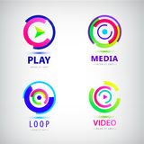 Vector set of play logos, media, video Stock Photo
