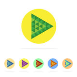 Vector : set of Play music icon in low poly style on white backg Royalty Free Stock Photos