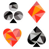 Vector set of playing card symbols. Black and red icons isolated on the backgrounds Royalty Free Stock Images