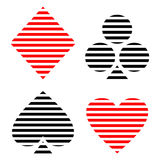 Vector set of playing card symbols. Black and red lined icons isolated on the backgrounds. Stock Photography