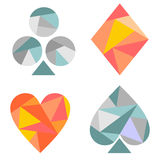 Vector set of playing card symbols. Blue and red icons isolated on the backgrounds. Polygonal design. Geometric triangular origami style, graphic illustration royalty free illustration