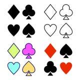 Vector set of playing card symbols Royalty Free Stock Image