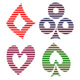 Vector set of playing card symbols. Hand drawn decorative black and red lined icons isolated on the backgrounds. Royalty Free Stock Photo