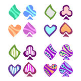 Vector set of playing card symbols. Royalty Free Stock Images