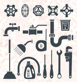 Vector Set: Plumbing Icons and Symbols Royalty Free Stock Photos