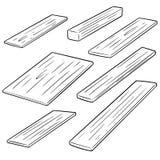 Vector set of plywood. Hand drawn cartoon, doodle illustration Stock Image