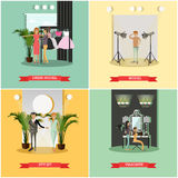 Vector set of podium concept posters in flat style Royalty Free Stock Photo