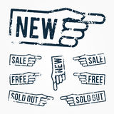 Vector set: pointing hand rubber stamps: new, sale, free, sold out. Pointing hand rubber stamps: new, sale, free, sold out over white background Royalty Free Stock Photography