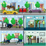 Vector set of police concept posters, banners in flat style Stock Photography