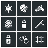 Vector Set of Police Icons.  Royalty Free Stock Images
