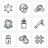 Vector Set of Police Icons. Sheriff, Law, Weapon, Ammunition, Neutralization, Pacification, Suppress, Arrest, Detention. Stock Image