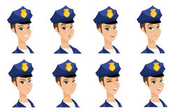 Vector set of policeman characters. Royalty Free Stock Photos