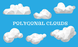 Vector set of polygonal clouds. Triangle vector set of  polygonal clouds Royalty Free Stock Photos