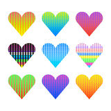 Vector set of pop art halftone hearts. Pop art hearts with halftone. Vector illustration Royalty Free Stock Images