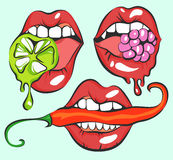 Vector Set of Pop Art Sexy Lips With Pepper, Berry and Lime Stock Photo