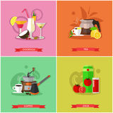 Vector set of popular drinks concept banners, posters, flat style stock illustration