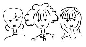Vector set of portraits of women. Simple drawing Royalty Free Stock Photo