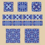 Vector set of Portuguese tiles and borders. Collection of colored patterns for design and fashion vector illustration