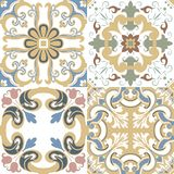 Vector set of Portuguese tiles patterns. Collection of colored p royalty free illustration