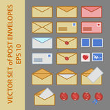 Vector set of post envelopes and postage stamp in flat style. Royalty Free Stock Photos