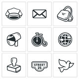 Vector Set of Post Office Icons. Postman, Letter, Delivery, Transport, International, Sending, Address, Carrier Pigeon. Stock Photography