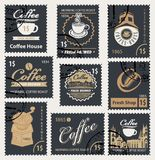 Set of retro stamps on the theme of coffee royalty free illustration