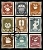 Set of retro stamps on the theme of coffee stock illustration