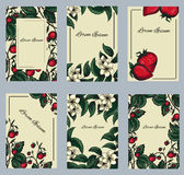 Vector set of postcards with strawberries Stock Image