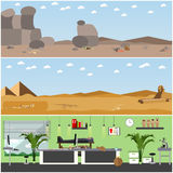 Vector set of posters, banners with archaeologists places, tools and equipment. Royalty Free Stock Image