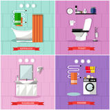 Vector set of posters, banners with bathroom interior and furniture Royalty Free Stock Photos