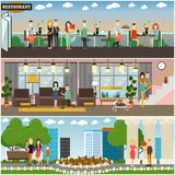 People and relations concept vector flat poster or banner set Royalty Free Stock Photos