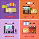 Vector set of posters, banners with home interior design elements. In flat style. Place to rest, hall, home theatre and fireplace Stock Images