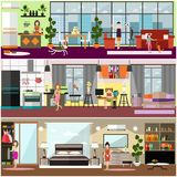 Family characters at home vector flat poster set royalty free illustration