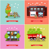 Vector set of posters with fire fighting concept design elements. Vector set of posters, banners with fire fighting concept design elements in flat style. Fire Royalty Free Stock Photography