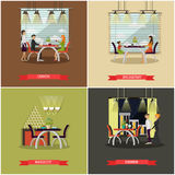 Vector set of posters with people in cafe and restaurants. Lunch, breakfast, dinner Royalty Free Stock Photos