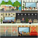 Radio broadcast concept vector flat poster set. Vector set of posters with radio studio workers, dj, journalist, guitarist, drummer, pianist and singer creating Royalty Free Stock Photos