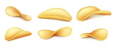 Vector set of potato chips on background vector illustration
