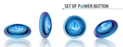Vector set of power button metallic design on white background Royalty Free Stock Photo